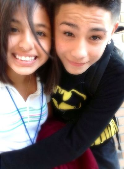 First picture with my buddy (((; , my hair got on the way doe —.— !