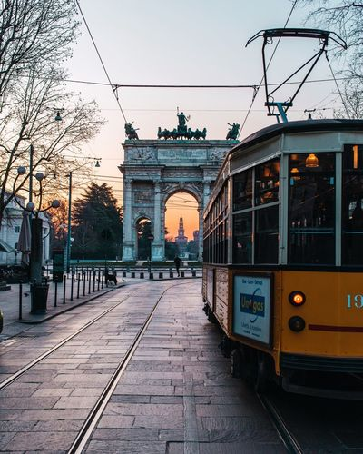 Sunset in Milan! Transportation Street Public Transportation Milano Milan,Italy Mode Of Transportation Cable Car Streetphotography Sunset Sunset Lovers Italy Milano Italy