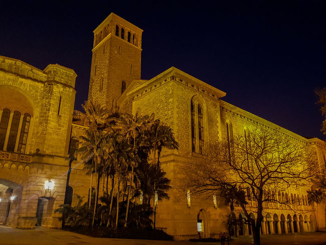 UWA bell tower at night Architecture Bell Tower Building Building Exterior Built Structure City City Life Exterior Façade Growth Illuminated Low Angle View Nature Night Night Photography No People Outdoors Sky Travel Destinations Tree University Of Western Australia Yellow
