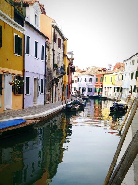 Venice to Burano Italy, color row homes, row homes, reflection, canals, canal homes The Week On EyeEm