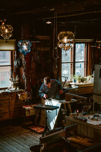 glassblower's house Glasswork Glassworker Craft Craftsmanship  Craftsman Portrait Portrait Photography Sweden Studio Workshop Workshop Working Industry Window Occupation Work Tool Welder Welding Worker Workbench