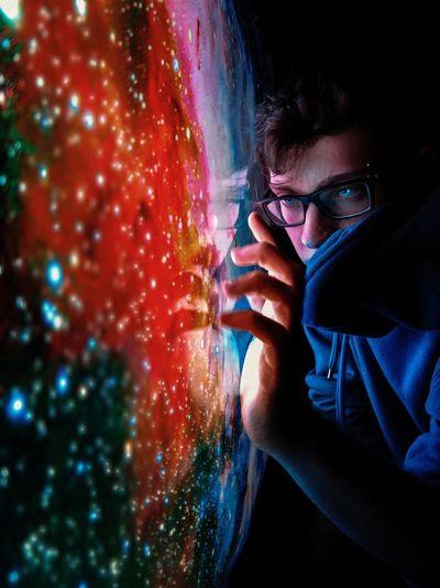 Man touching device screen