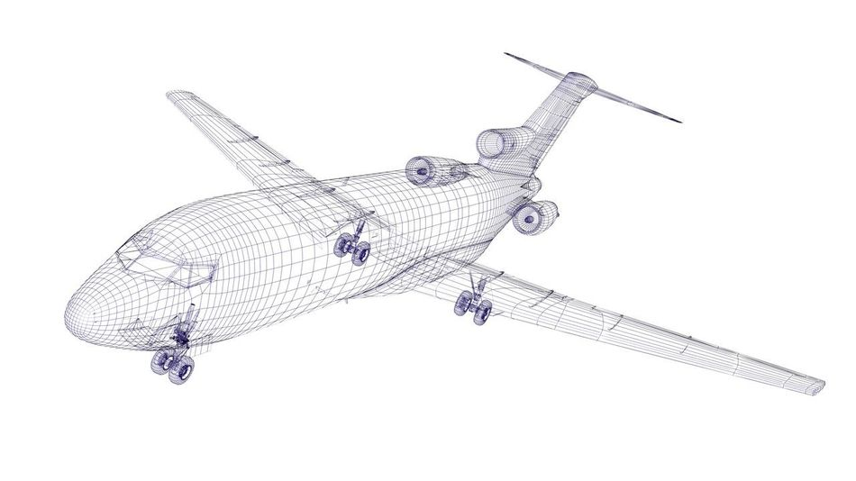 Blue wireframed airplane CAD Fly Graphic Technology Everywhere Travel Aircraft Airplane Computer Design Engineer Engineering Flying Project Speed Structure Technological Technology