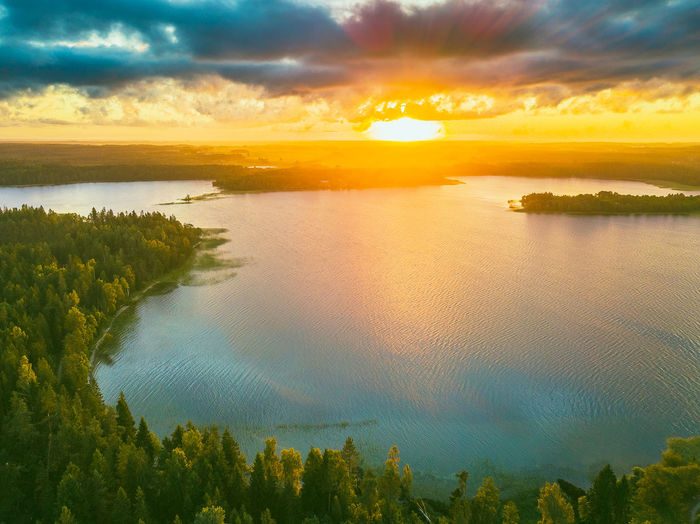 Plateliai lake, summer sunrise 4am Aerial Shot Drone  Lietuva Aerial Aerial View Beauty In Nature Cloud - Sky Drone Photography Europe Idyllic Land Mavic Mavic Pro Nature No People Non-urban Scene Orange Color Outdoors Plant Reflection Scenics - Nature Sky Sunlight Sunset Tranquil Scene Tranquility Tree Water The Great Outdoors - 2018 EyeEm Awards