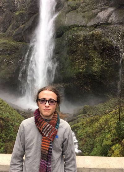 Waterfall Waterfall Scarf Boy With Scarf Boy With Glasses EyeEm Selects One Person Looking At Camera Casual Clothing Tranquil Scene Outdoors Mist Moss Oregon Breathing Space The Week On EyeEm Done That. The Portraitist - 2018 EyeEm Awards Summer Road Tripping This Is Natural Beauty