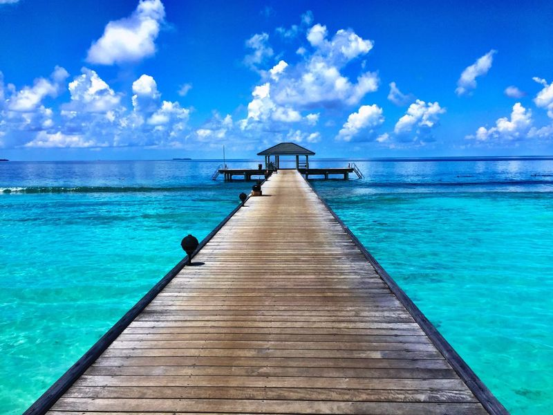Maldives Maldivesphotography Atoll Baaatoll Travel Paradise Pier Destination Exotic Tropical Climate Tropical Tropical Paradise Nature Narure_collection Horizon Over Water Sea Water Sky Tranquil Scene Scenics Tranquility Idyllic Blue Nature Non-urban Scene