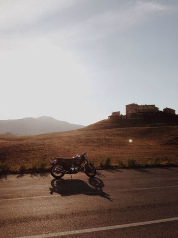Landscape_Collection Tuscany Motorcycles Sunset Silhouettes
