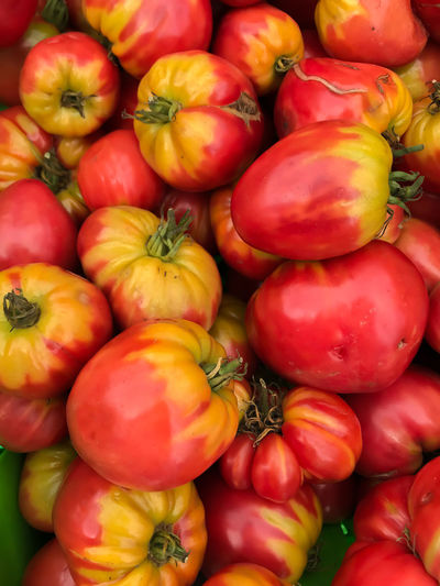Abundance Backgrounds Business Close-up Day Farmer Market Food Food And Drink For Sale Freshness Full Frame Healthy Eating Large Group Of Objects Market Market Stall No People Outdoors Red Retail  Tomatoes Varigated Vegetable