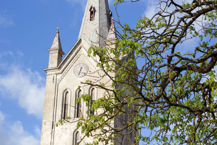 Old Town Cesis Latvia Spring Tree Clock History Religion Clock Tower Time Sky Architecture Building Exterior Church