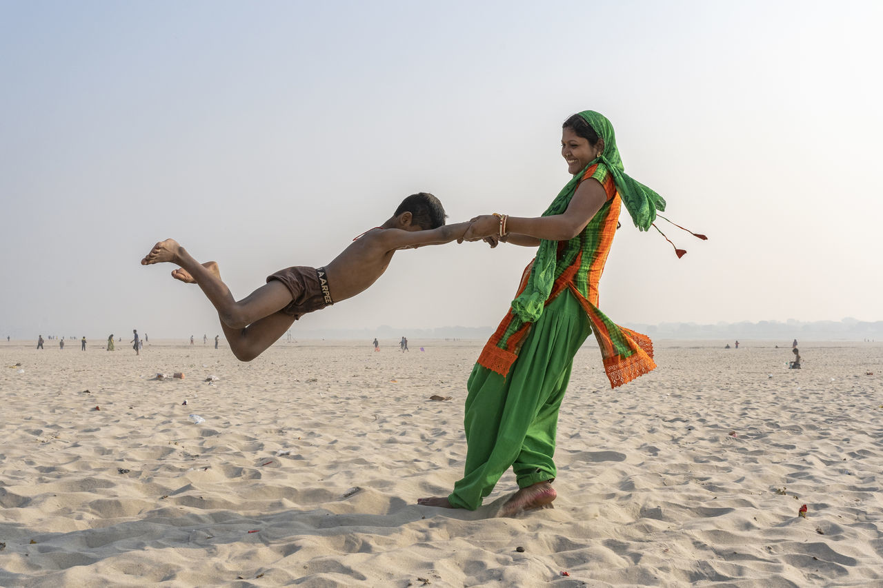 land, beach, sand, sky, real people