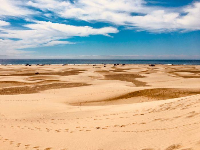 Land Sea Beach Sky Water Sand Cloud - Sky Landscape Travel Horizon Over Water