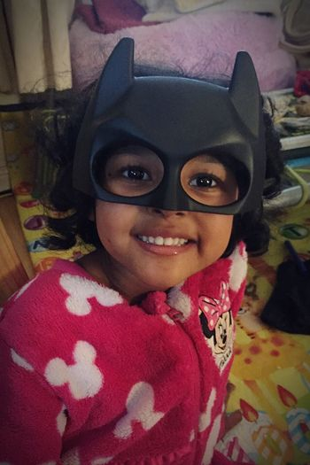 Looking At Camera Portrait Smiling Lifestyles One Person Real People Leisure Activity Front View Happiness Close-up Childhood Indoors  Wearing Day Batgirl Mask Smile Fun Playtime EyeEm