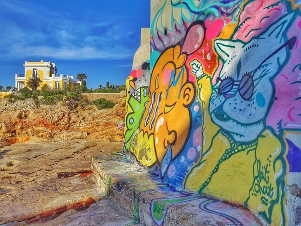 Multi Colored Outdoors Day Close-up No People Sky Graffitiart Graffiti Wall Graffiti Photography Architecture Cityscape Fresquemurale Mural Art Mural Painting Photo Of The Day EyeEm Gallery Eyeemgraffiti Sea Marseille, France Vacations