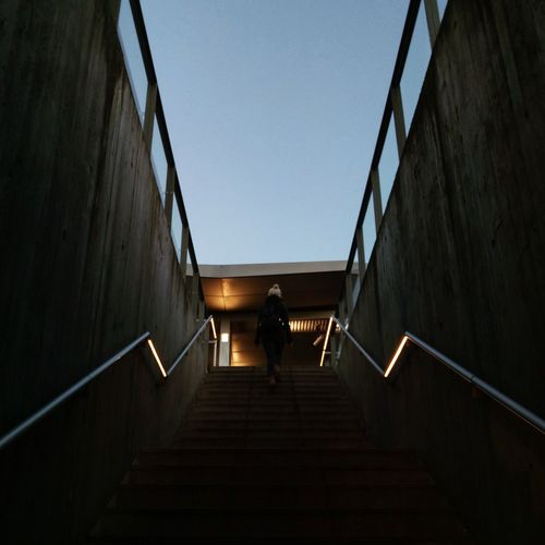 Architecture Building Exterior Built Structure Clear Sky Day Diminishing Perspective Direction Full Length Lifestyles Low Angle View Moving Up Nature One Person Outdoors Railing Rear View Sky Staircase Steps And Staircases The Way Forward Walking