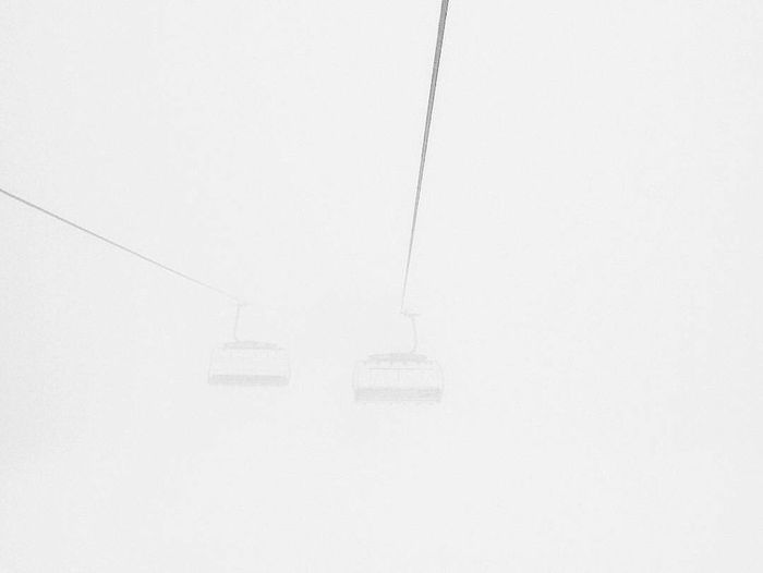 Overhead cable car in winter