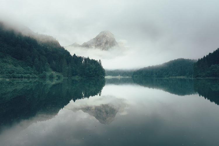 Cloudy morning at Lake Obersee in Näfels, Switzerland Alpen Calm Cloudy Morning Glarus Lake Majestic Mountain Mountain Lake Mountain Range Mountains Nature Näfels Obersee Outdoors Peaceful Reflection Remote Schweiz Suisse  Svizzera Swiss Alps Switzerland Tranquil Scene Tranquility Water