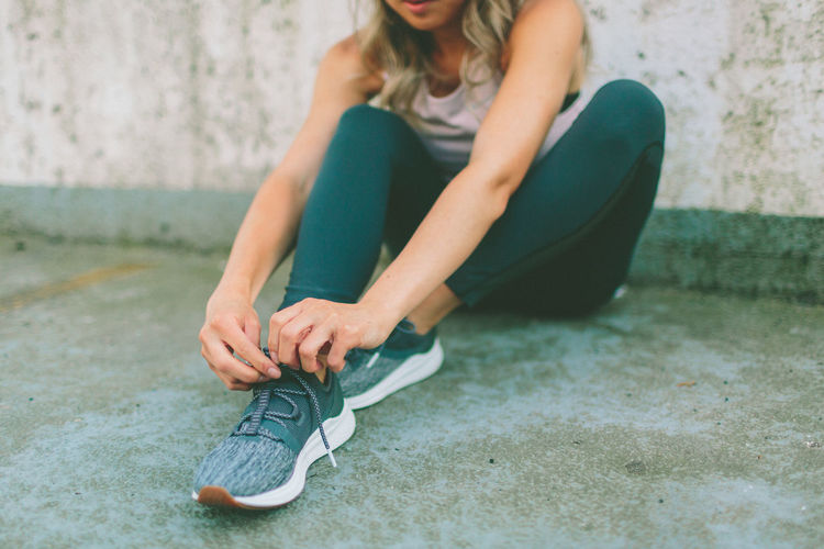 Beautiful City Exercise Exercising Tying Shoelaces Woman Working Out Active Activity Health Healthy Lifestyle Urban