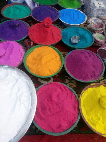 Art And Craft, Circle Cultures Day Diwali Holi Indian Culture, Market Market Stall Merchandise Multi Colored No People Outdoors Powder Paint Religion Retail  Variation Vehicle Breakdown Vertical