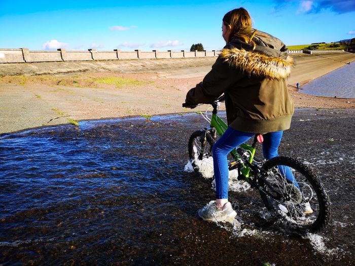 Bike Girl Sky Viewpoint Water Dam Full Length Water Blue Sky Shore