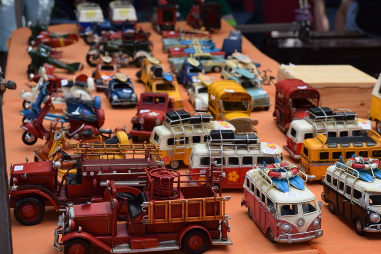 Various Toy Vehicle On Display At Market Stall