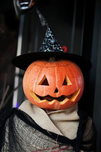Close-up portrait of illuminated halloween pumpkin