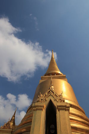 Close up golden pagoda in wat phra keaw,Bangkok Thailand Bangkok Thailand Travel Wat Phra Keaw Architecture Art Beautiful Temple Building Exterior Built Structure Close Up Day Destination Famous Place Famous Temple Gold Colored Golden Pagoda Landmark Low Angle View No People Outdoors Place Of Worship Religion Sky Spirituality Travel Destinations