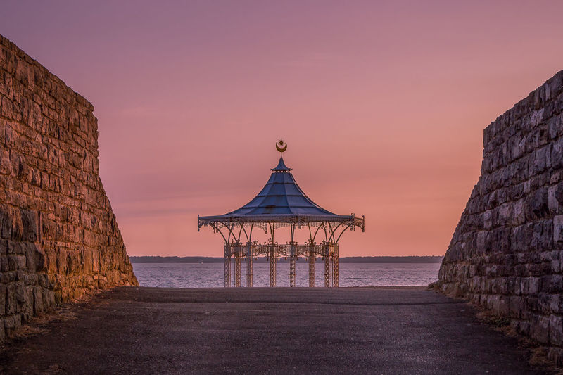 Sky Water Sunset Built Structure Architecture Sea Scenics - Nature Nature Building Exterior Horizon Over Water Beauty In Nature No People Tranquility Horizon Tranquil Scene Land Idyllic Building Clear Sky Purple Portsmouth Bandstand Southsea Bandstand
