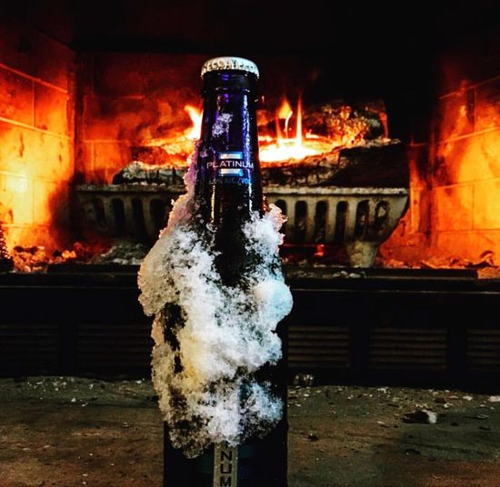 Fire and ice Flame Fireplace Bud Light Platinum Snuggle EyeEmNewHere