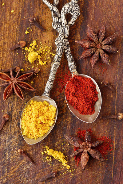Aroma Biological Brown Close-up Cloves Curry Dried Flavor Food Gourmet Healthy Ingredient Natural No People Organic Paprika Powder Raw Red Spice Spoon Star Anise Wooden Background Yellow