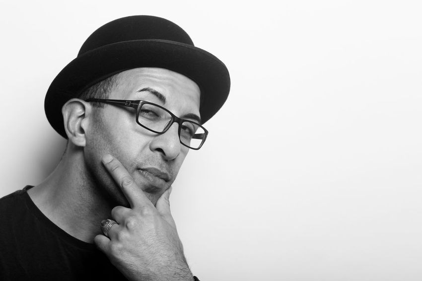 think! Adult Adults Only Black And White Blackandwhite Photography Canon Close-up Eye4photography  Eyeglasses  Headshot Human Body Part Human Face Human Hand Malephotographerofthemonth Men One Man Only One Person Only Men People People Photography Portrait Portrait Of A Friend Shootwithcamerasnotwithguns Studio Shot White Background