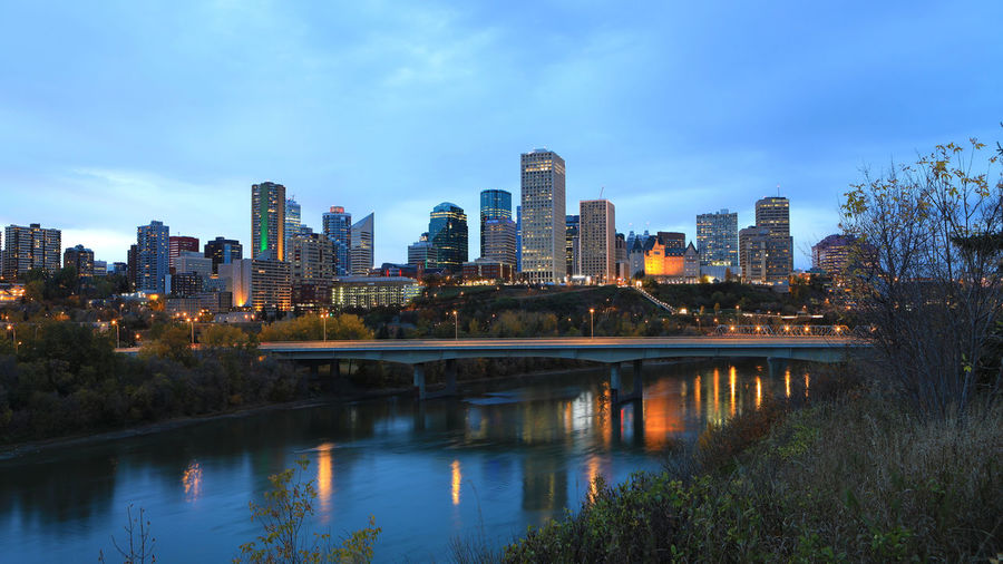 Edmonton, Canada cityscape at night Twilight Architecture Building Exterior Built Structure City Cityscape Day Growth Modern Nature Night No People Outdoors Reflection River Sky Skyscraper Travel Destinations Urban Skyline Water