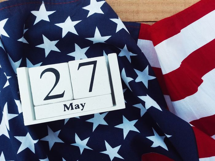 Wooden calendar and american flag Emblem  Celebration Remember Memorial Flag Patriotism Independence Anniversary Memorial Day Event USA America Nation Country Pride Peace Peaceful Holiday Memory Soldier Army Celebrate Greeting Cheerful Liberty