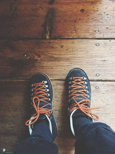 Shoe Low Section Human Leg Real People Shoelace One Person Pair High Angle View Standing Canvas Shoe Personal Perspective Human Body Part Directly Above Indoors  Lifestyles Men Close-up Day People