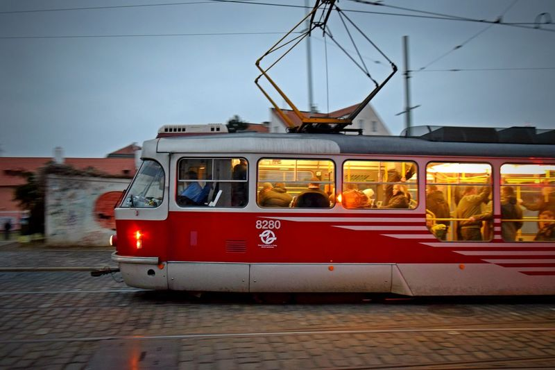 Going Going Home From Work Mode Of Transport On The Move On The Road Outdoors Public Public Transportation Red Sky Streetphotography Text Tram Transportation Traveling Vehicle