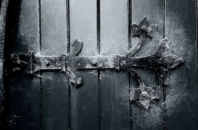 Close-up No People Day Black And White Photography Frosty Mornings Door. Metalwork