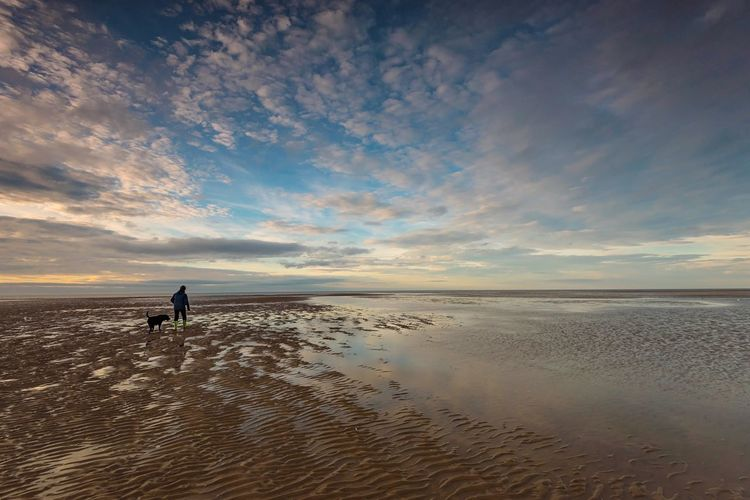 Low Tide Stroll Coastal Coast Seaside Seascape Beachphotography Dog Walking North Norfolk Norfolk Old Hunstanton Water Sea Beach Sky Land Beauty In Nature Horizon Over Water Horizon Scenics - Nature Sand Unrecognizable Person Reflection Low Tide Sunset Nature Cloud - Sky Tranquility