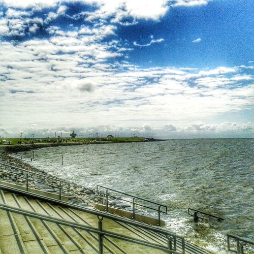 Water Northsea Beach Büsum Outdoors Sky Cloud - Sky Day Sea Collection Travel Destinations Hdr Photography HDR SCAPE View Of The Sea Hdr_Collection Hdr_lovers Hdr_arts  Hdr_arts  People In The Background Stormy Sky Stairway HDR Resort Colorful Atmosphere Nordsee Landscape