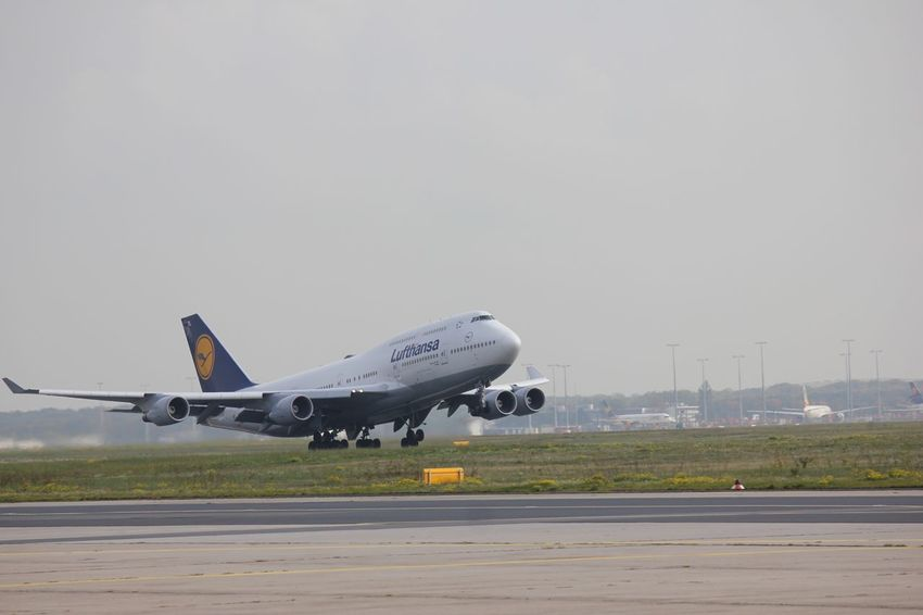 Take off ✈️ Take Off Fraport Lufthansa At The Start AirPlane ✈ Airportphotography Airport Flugzeug Flughafen Boeing 747 Boeing Airplane Air Vehicle Transportation Mode Of Transportation Airport Runway Airport Sky Nature Clear Sky Copy Space No People Day Travel Outdoors Side View Aerospace Industry Landing - Touching Down Building Exterior Taking Off