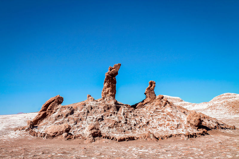 Rock formations on land against clear blue sky