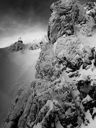 Up In The Silence Mountain Snow Blackandwhite Photography Mountain Peak Mountain Photography Winter Photography Winter Landscape Polishmountains Kasprowy Wierch Tatra Mountains Cablecarview Silence Beautyofmountains Nature Rock - Object Tranquility Tranquil Scene Mountain