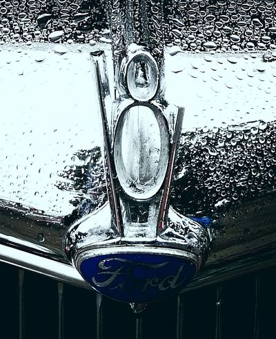 V8 Hood Ornament Fire Truck Chrome Raindrops Old Ford