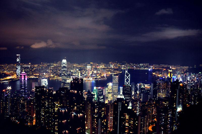 Hong Kong Cityscape City Night High Angle View Skyscraper
