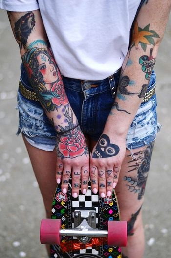 Girl Bodyart Skateboarding Ink Tattoo Colorful Lovely IWant Bodymodification Inked