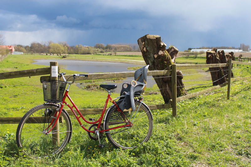 Transportation Bicycle Mode Of Transportation Land Vehicle Day Outdoors Grass Field Land Plant Nature Cloud - Sky Sky Environment No People Landscape Green Color Boundary Barrier Fence Livestock Child Seat Pond
