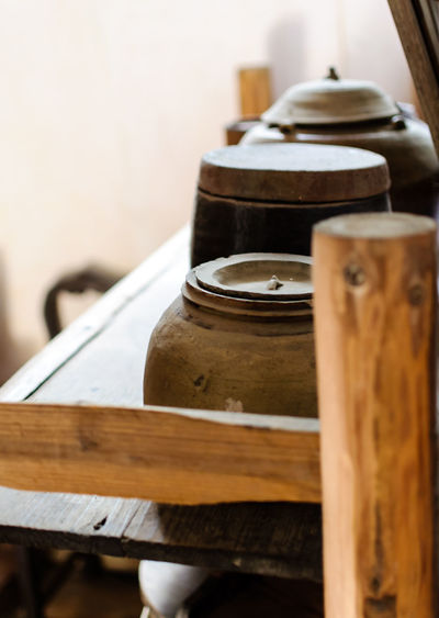 Taken on a trip to Kaiping, UNESCO World Heritage site in Guangdong, China. Close-up Container Focus On Foreground Group Of Objects Indoors  Man Made Object No People Old Selective Focus Table Wood Wood - Material Wooden