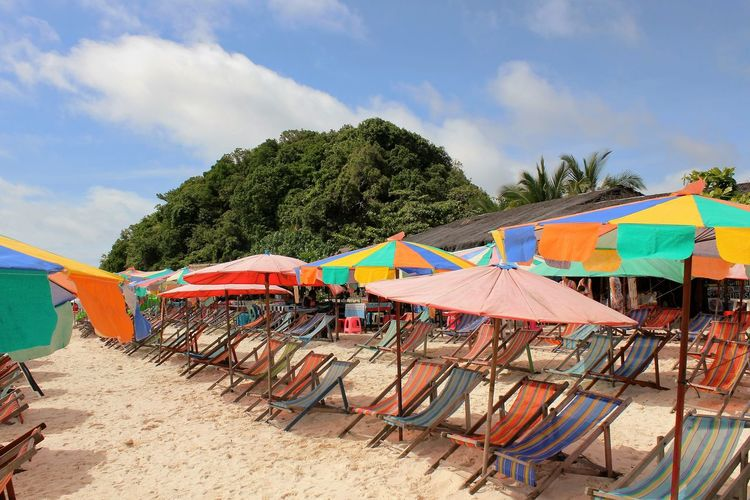 Q Queued chairs Travel Destinations Outdoors Waterfront Beach Photography Umbrellas Seaside Sun And Sea. Sun And Sand Phuket Thailand