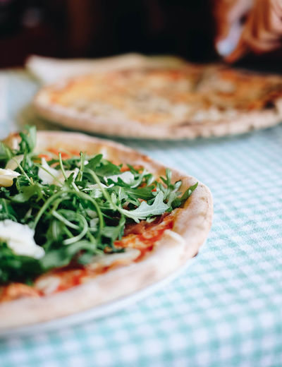 Carbs? Yes, pleamnomnom. Close-up Day Food Food And Drink Freshness Healthy Eating Indoors  Italian Food No People Pizza Plate Ready-to-eat Selective Focus Serving Size Table Tablecloth