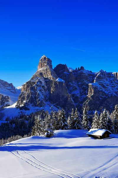 rough and soft Skiing Winter Sassongher Corvara Alta Badia Italy Snow Blue Winter Mountain Cold Temperature Tranquil Scene Clear Sky Outdoors Day Landscape No People Nature Beauty In Nature