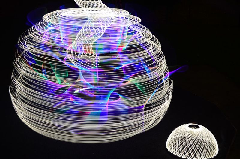 Nikon Abstract Backgrounds Black Background Creativity Illuminated Light Painting Long Exposure Motion Multi Colored Night No People Pattern Playground Purple Roundabout Shape Speed Sphere Still Life