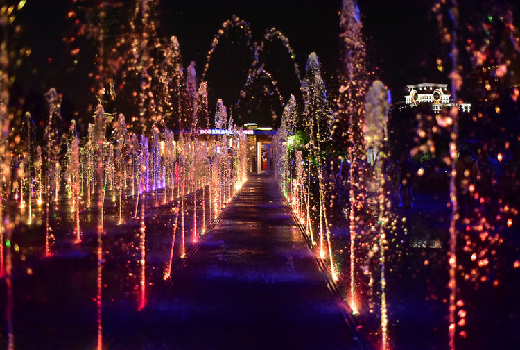 Colors Of WATER Fountains Moscow Fountain City Direction Drops Of Water Dry Fontain Dry Fountain Illuminated Muzeonpark Night No People Reflection Travel Destinations Water